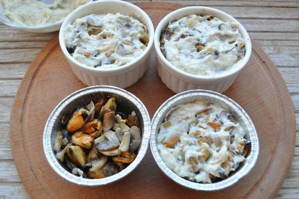 приготовление жульена с грибами и мидиями