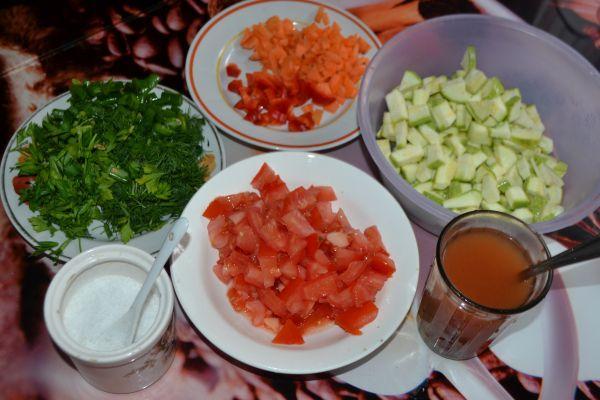 ингредиенты для рагу из кабачков