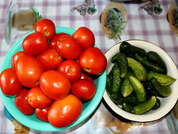 помидоры и огурцы
