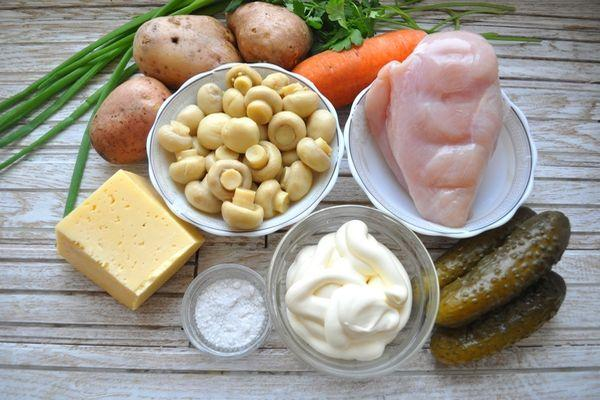 ингредиенты для салата грибная поляна