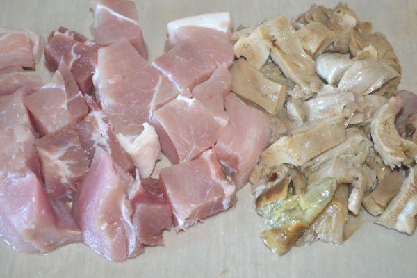 грибы и мясо