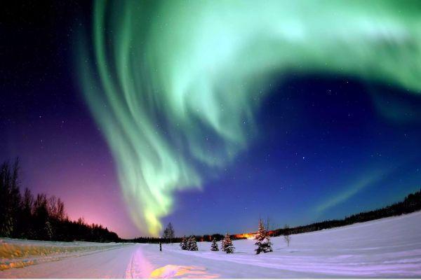 северное сияние в Финляндии