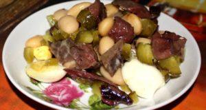 салат из свиного легкого и сердца