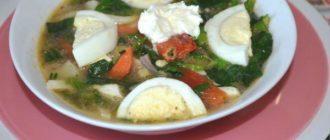 суп с яйцом