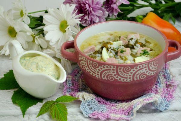 сырный суп с рисом и щавелем