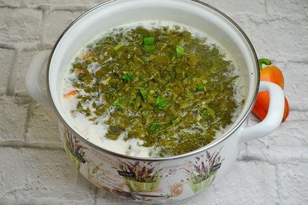 приготовление сырного супа со щавелем