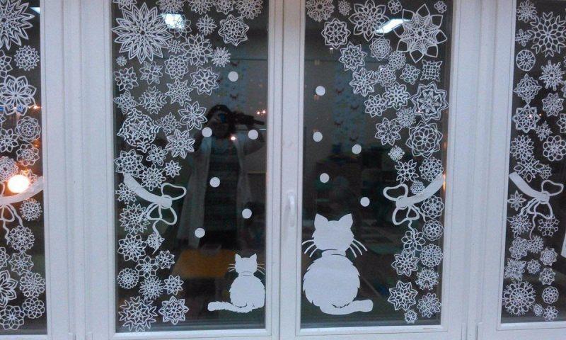 новогодний декор окна