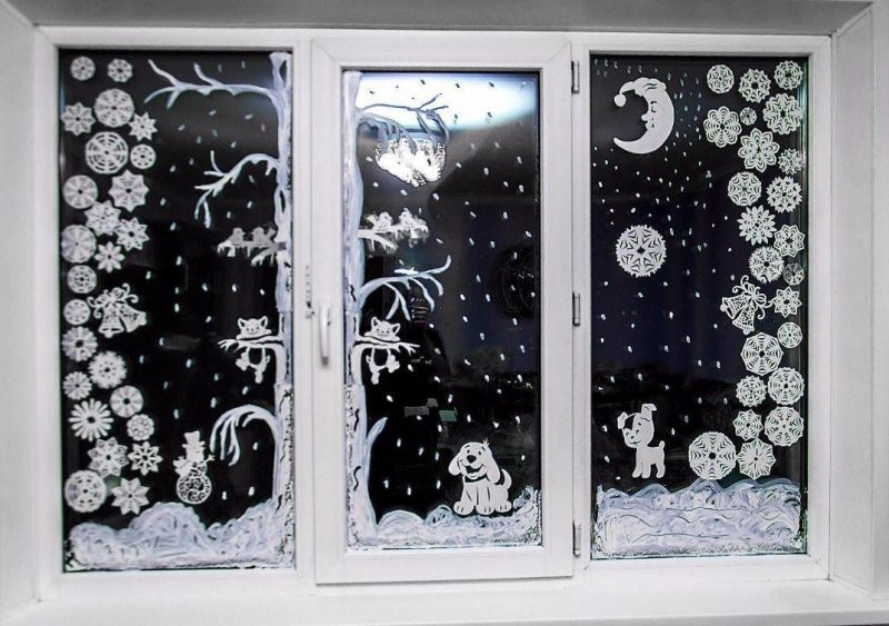 зимний пейзаж на окне